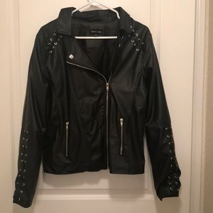New Look Black Large Leather Jacket! Worn twice!